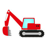 Red excavator. Red crawler excavator with shovel, cab and undercarriage Royalty Free Illustration