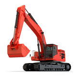Red Excavator.  on white backgroung Stock Photo
