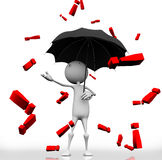 Red exclamation mark. 3d man standing with an umbrella with rain dripping from the sky red exclamation mark Stock Photo