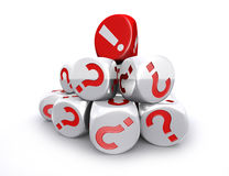 Red exclamation mark dice on top of white question mark dices st Stock Image