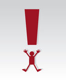 Exclamation Mark Figure. Red exclamation mark figure jumping Royalty Free Stock Image
