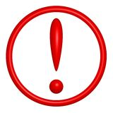 Red exclamation mark round icon on white Royalty Free Stock Photos