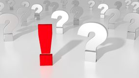 Red exclamation mark standing out from the crowd. Of white question marks on white solution concept 3D illustration Royalty Free Stock Photo