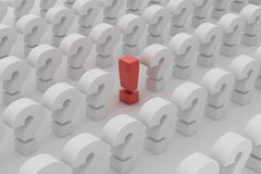 Red exclamation point over questions Stock Photo
