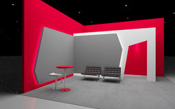 Red exhibition stand 3d Rendering Royalty Free Stock Photo