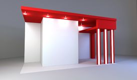 Red exhibition stand 3d rendering. Red exhibition stand light 3d rendering design Stock Photos