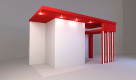 Red exhibition stand 3d Rendering. Red exhibition stand light 3d Rendering design Royalty Free Stock Images
