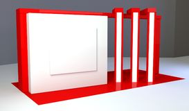 Red exhibition stand 3d Rendering. Red exhibition stand light 3d Rendering design Stock Photo