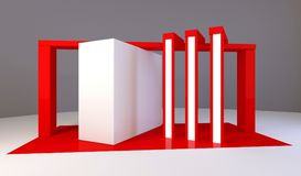 Red exhibition stand 3d Rendering. Red exhibition stand light 3d Rendering design Royalty Free Stock Photography