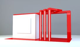 Red exhibition stand 3d Rendering. Red exhibition stand light 3d Rendering design Stock Photography