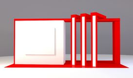 Red exhibition stand 3d Rendering. Red exhibition stand light 3d Rendering design Royalty Free Stock Image
