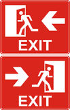 Red exit sign. Emergency fire exit door and exit door. Label wit. H human figure and arrow. Vector illustration Royalty Free Stock Photo