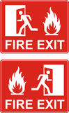 Red exit sign. Emergency fire exit door and exit door. Label wit. H human figure and flame. Vector illustration Royalty Free Stock Photography