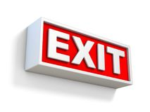 Red EXIT sign on white wall 3D. Rendering illustration isolated on white background Royalty Free Stock Images