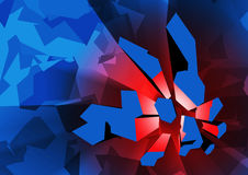 Red explosion. The abstract picture of red glow and blue fragments Royalty Free Stock Images
