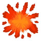 Red explosion icon, cartoon style. Red explosion icon. Cartoon illustration of red explosion vector icon for web design Royalty Free Stock Photo