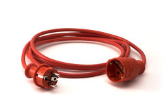 Red extension cord Royalty Free Stock Images