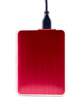 Red external hard drive with usb cable Stock Image
