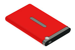 Red External HDD with cable. Red External HDD isolated on white background Stock Image