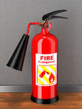 Red extinguisher with label in room. Concept Stock Image