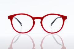 Red eye glasses. Isolated on white background stock photography
