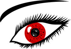 Red Eye with lashes. Illustration of a Red Eye with lashes Royalty Free Stock Image