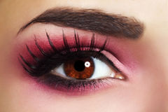 Red Eye Makeup. Beautiful eye makeup close up Royalty Free Stock Photography