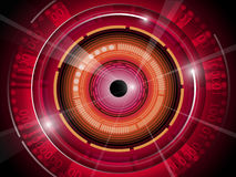 Red eyeball with technology binary code background Stock Images