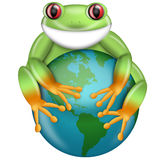 Red-Eyed Green Tree Frog Hugging Planet Earth Stock Photo