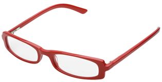 Red Eyeglasses. Hand made clipping path included Stock Image