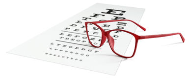 Red eyeglasses on visual test chart isolated on white. Eyesight. Concept royalty free stock image