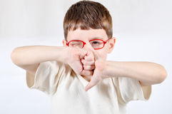 Red eyewear young boy Stock Photos