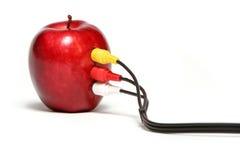 red för äpplekabelanslutning arkivbild