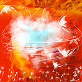 red för bakgrundsfjärilsgrunge Arkivbild