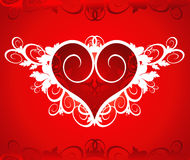 red för blommahjärtaprydnad royaltyfri illustrationer