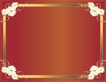 red för blommaramguld vektor illustrationer