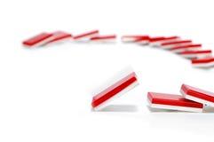 red för dominoeffekt Arkivbild