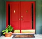 red för dubbelt tillträde för dörr Royaltyfria Bilder