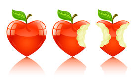 red för förälskelse för äppledatalisthjärta stock illustrationer