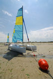 red för fartygbojcatamaran Arkivfoton
