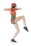 red för flickahårphotocamera Fotografering för Bildbyråer