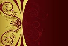red för guld för kantdesign blom- Royaltyfria Bilder