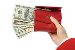 red för handväska för handpengar Royaltyfria Bilder