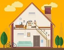 red för hus för stolsdörringång inre modern vektor illustrationer