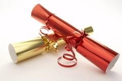 red för julsmällareguld Arkivbilder