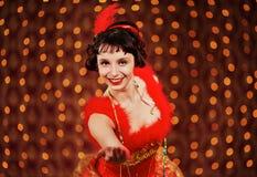 red för karnevalklänninglady royaltyfri foto