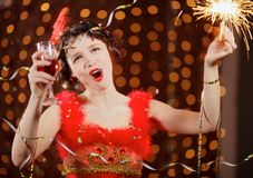 red för karnevalklänninglady Royaltyfria Foton