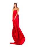 red för klänningmodeflicka Royaltyfria Foton