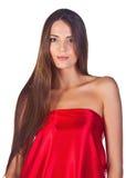 red för klänningmodeflicka Arkivbild