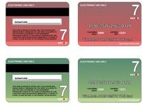 red för kortkrediteringsgreen Arkivbild